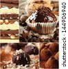 Collage of dessert - stock photo