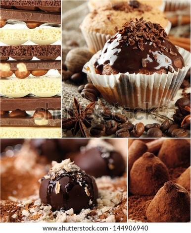 Collage of dessert - stock photo