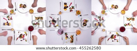 collage of desserts and drinks symmetrically served on white table with bright decorations and human hands - stock photo