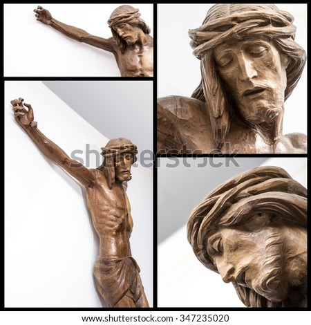 Collage of details of a crucifix on the white wall of a modern Catholic church - stock photo