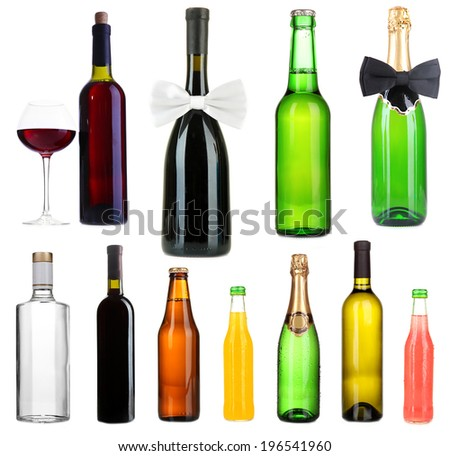 Collage of different alcohol bottles isolated on white - stock photo
