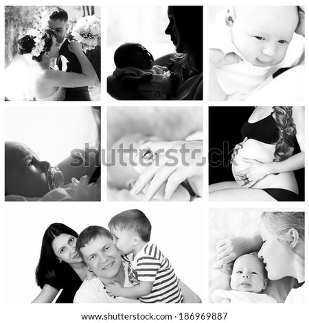 Collage of different black and white photos of family theme