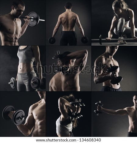 Collage of different bodybuilders images - stock photo