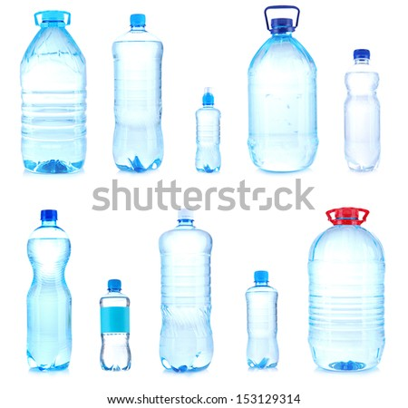 Collage of different bottles with water - stock photo