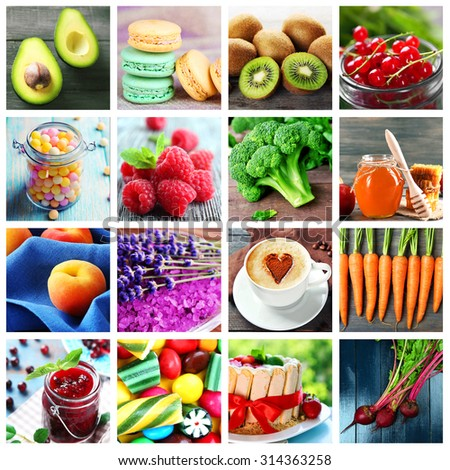 Collage of different bright photos - stock photo