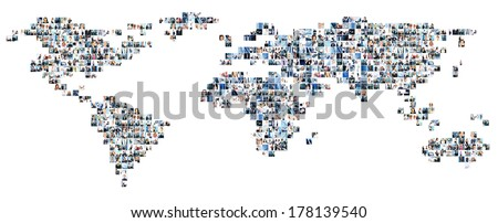 Collage of different business pictures collected as world map. Finance, success, technology, communication, market, time and money concept. - stock photo
