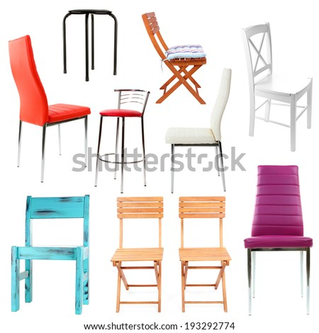Collage of different chairs isolated on white - stock photo
