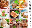 Collage of different chicken dishes - baked chicken legs, cutlets, fillet, sausage, shashlik - stock photo