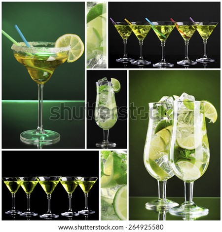 Collage of different cocktails - stock photo