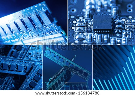 Collage of different computer parts in blue and green lights - stock photo