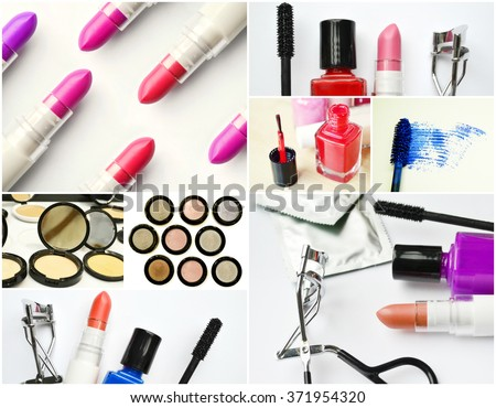Collage of different cosmetics sets with black mascara, pink and red nail polish and lipstick and eyelash curler