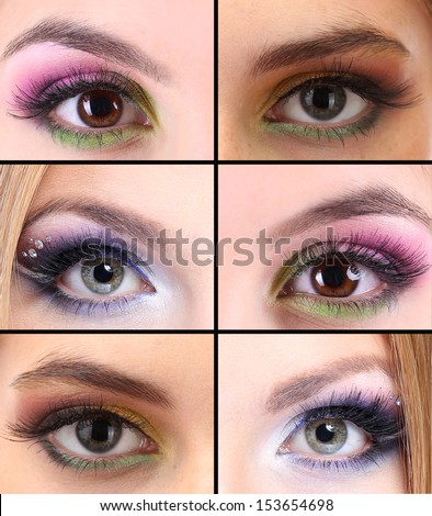 Collage of different eye make-up - stock photo