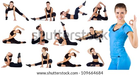 Collage of different fitness exercises isolated on a white background - stock photo