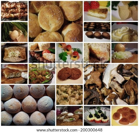 Collage of different food. Homemade food.  - stock photo