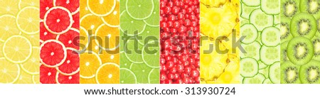 collage of different fruit slices - stock photo