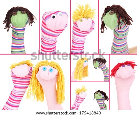 Collage of different funny sock puppets - stock photo