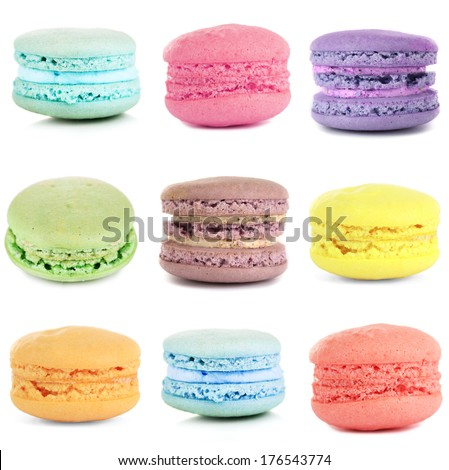 Collage of different gentle macaroons isolated on white - stock photo