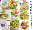 Collage of different healthy breakfast photos - stock photo