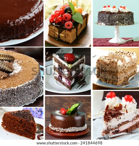 collage of different kinds of chocolate baking - stock photo
