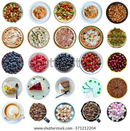 Collage of different kinds of healthy and unhealthy foods isolated on white - stock photo