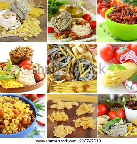 collage of different kinds of italian pasta - stock photo