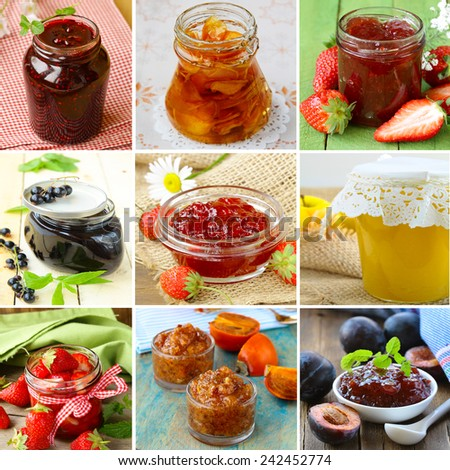 collage of different kinds of jam (strawberry, currants, raspberries, persimmons, plum) - stock photo