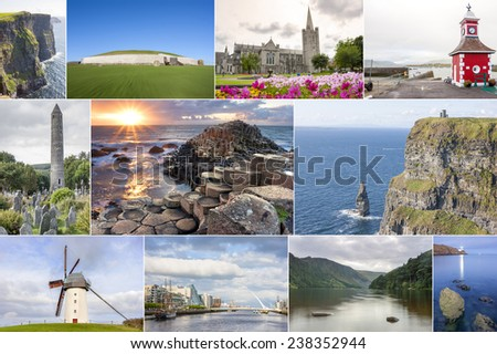 Collage of different landmarks along of Ireland country - stock photo