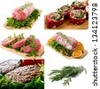 collage of different meats and parsley, rosemary and green salad - stock photo
