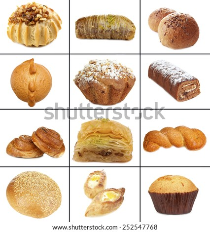 Collage of different pastries and bakery items, isolated on white - stock photo
