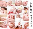 Collage of different photos of babies and family moments - stock photo