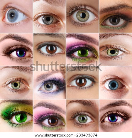 Collage of different photos showing eyes - stock photo