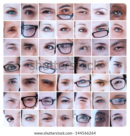 Collage of different pictures of eyes of people and reading glasses - stock photo