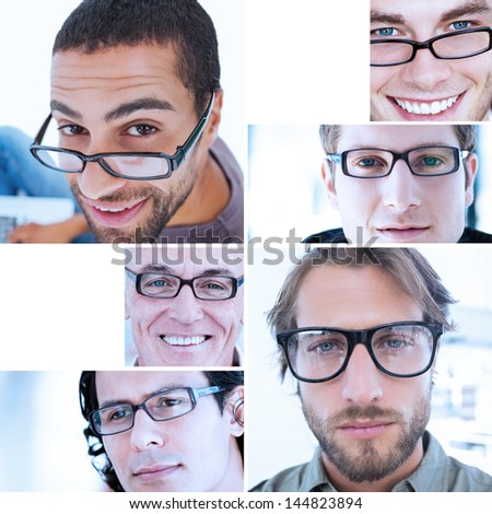 Collage of different pictures of handsome men wearing reading glasses - stock photo