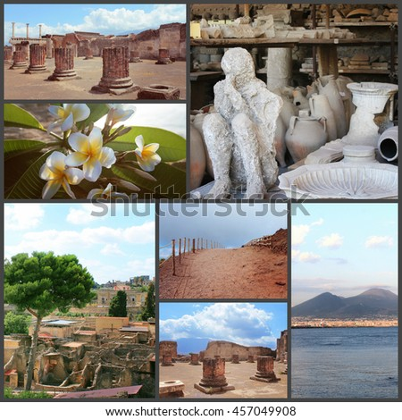 collage of different pictures of Italy, Naples, Pompeii - stock photo
