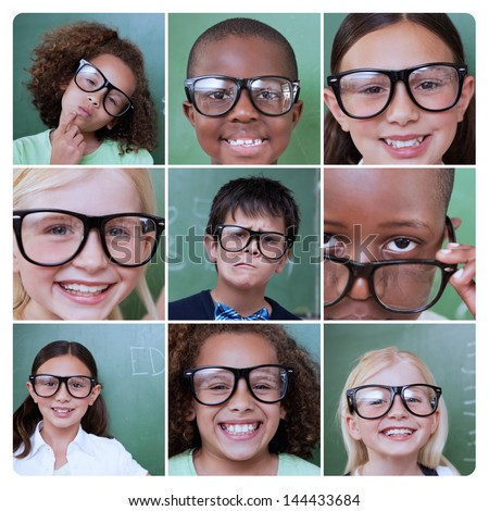 Collage of different pictures of smiling pupils wearing reading glasses - stock photo