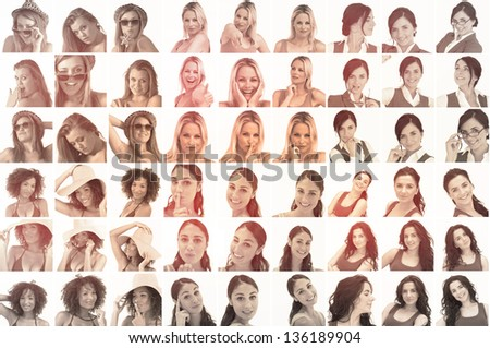Collage of different pictures of  women in sepia on white background