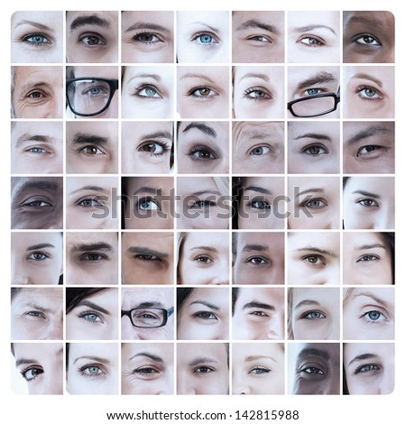 Collage of different pictures showing eyes