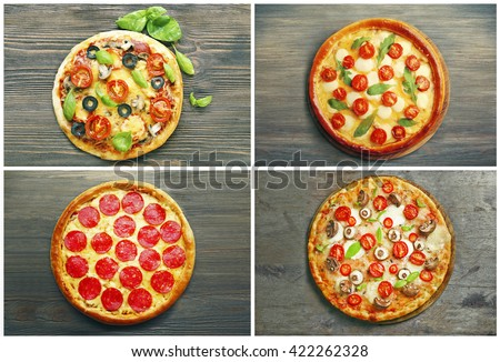 Collage of different pizza on wooden background - stock photo