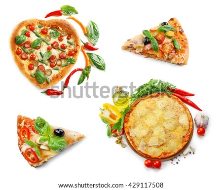 Collage of different pizzas isolated on white - stock photo