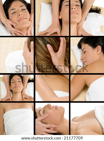 collage of different poses of beautiful woman getting massage - stock photo