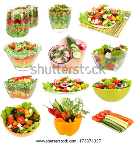 Collage of  different salads isolated on white