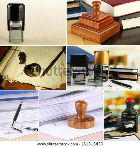 Collage of different stamps - stock photo