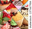 Collage of different tasty cupcakes - stock photo