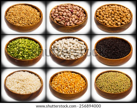 collage of different type of legumes isolated on white - stock photo