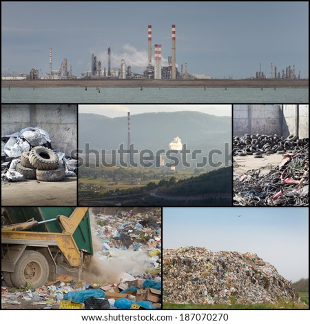 Collage of different ways of polluting environment - stock photo