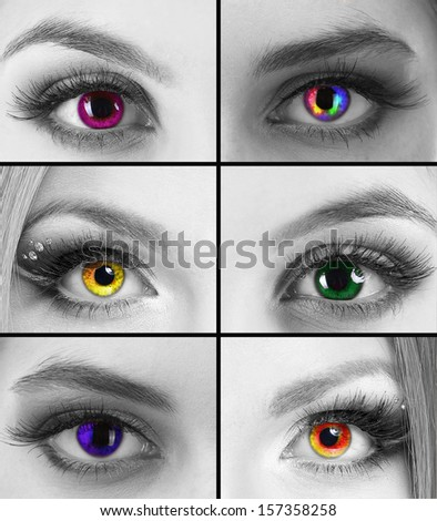 Collage of different women's eyes - stock photo