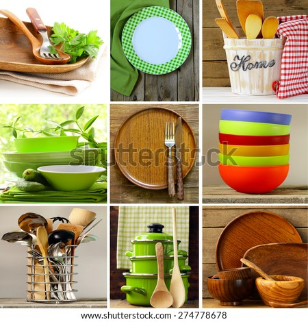 collage of different wood and organic utensils  - stock photo