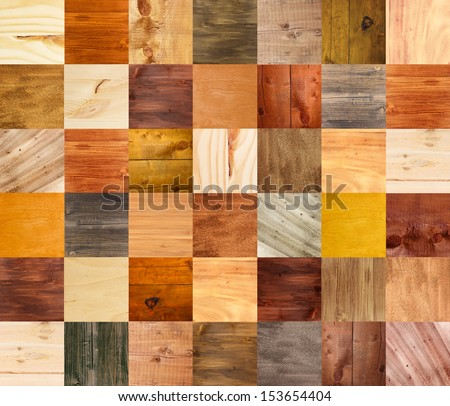Collage of different wooden texture - stock photo