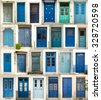 Collage of differents textured and blue doors in Greece - stock photo