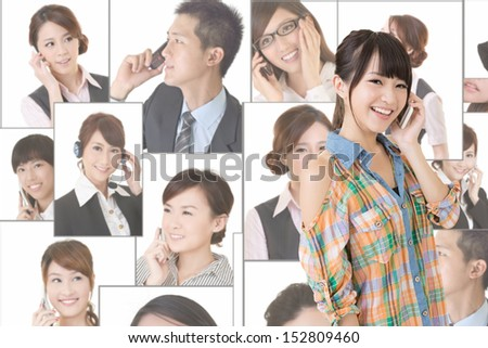 Collage of diverse asian business people talking on the phone with casual woman in front of them. - stock photo